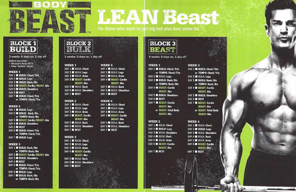 body beast workout calendar schedule lean