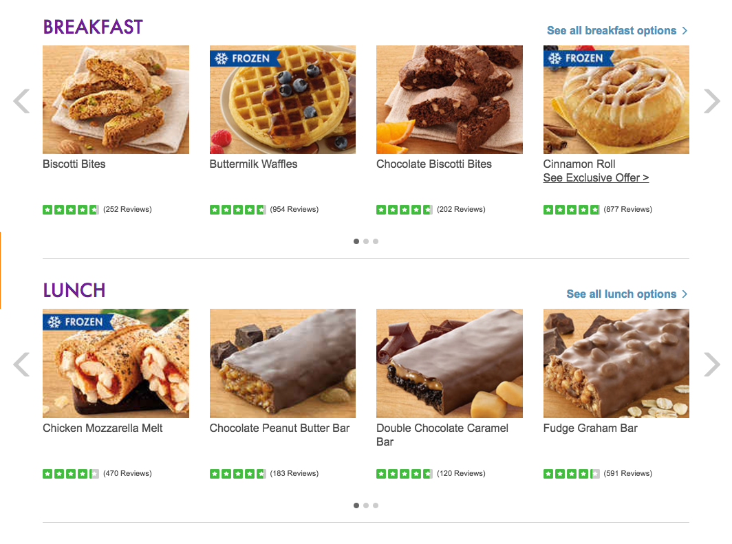 Nutrisystem menu food breakfast & Lunch