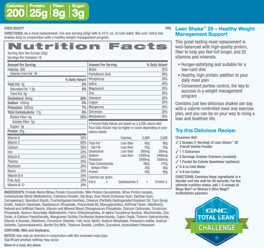 GNC Total Lean Shake Nutrition Label Ingredients