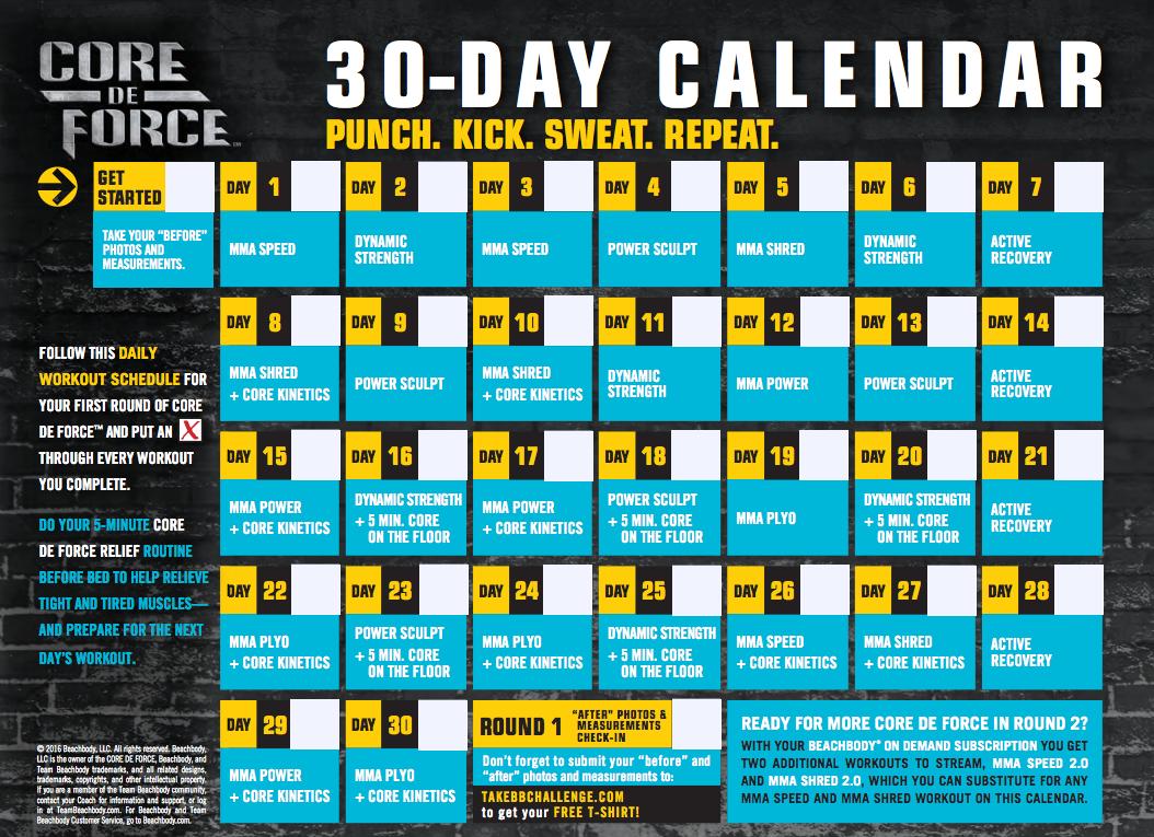 Core de Force Calendar Schedule