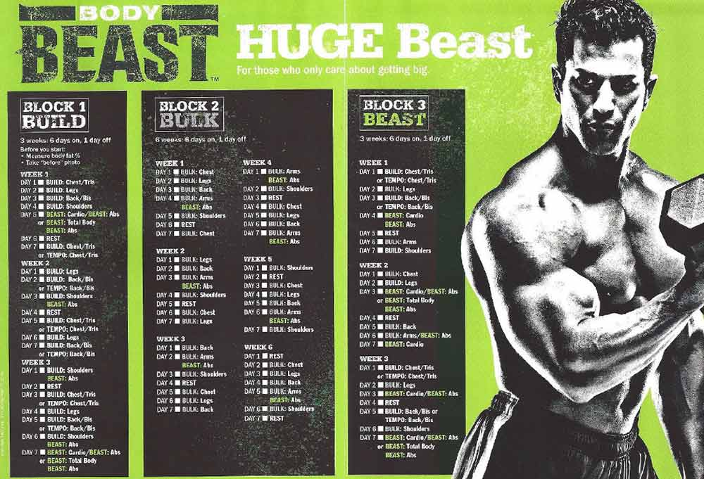 body beast workout calendar schedule huge