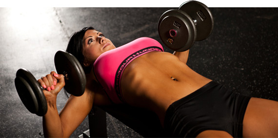Incline Dumbbell Chest Presses woman