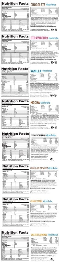 idealshape ingredients flavors nutrition label