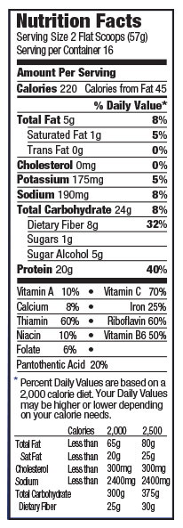 orgain organic meal replacement shake chocolate nutrition label