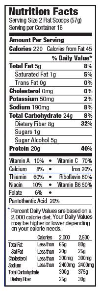 orgain organic meal replacement shake nutrition label vanilla