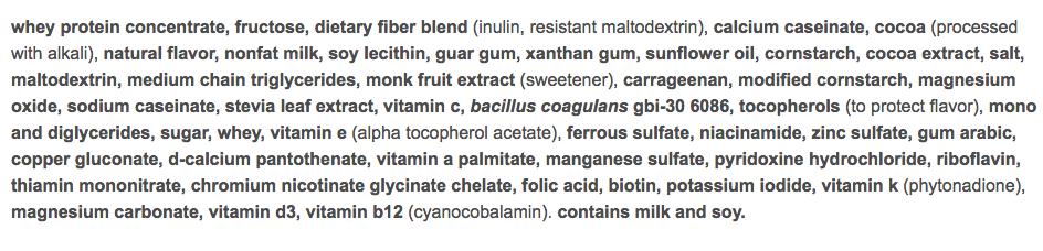 nutrisystem turbo shake chocolate ingredients