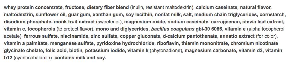 nutrisystem turbo shake vanilla ingredients