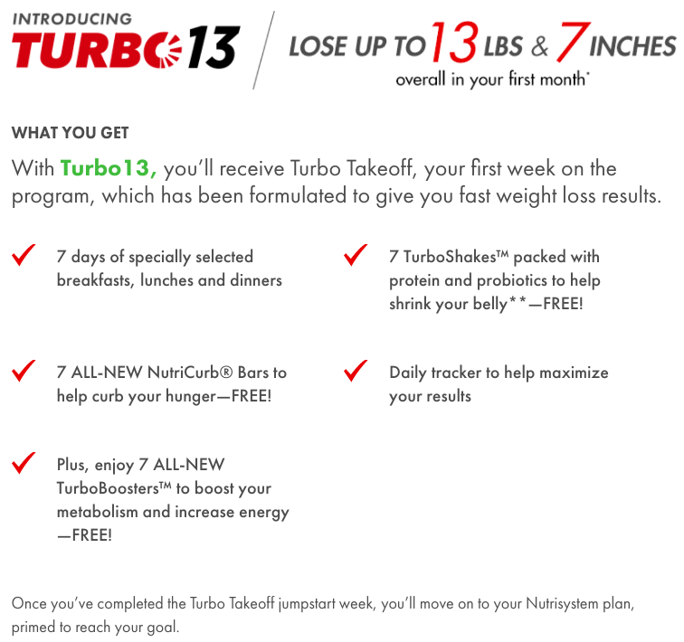 what is the nutrisystem turbo 13 new